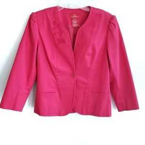 Oscar de la Renta / Pink Embroidered Jacket